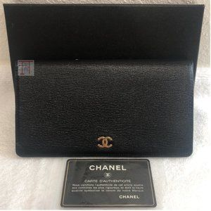 CHANEL Black Gold Calf Leather Long Flap Wallet